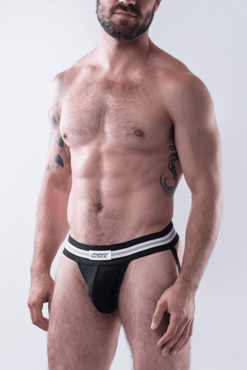 sexy-jockstrap-gay-underwear-mens-jock-3-Pack: White, Black, Burgundy Jockstraps - Coyote Jocks Inc.