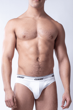 sexy-jockstrap-gay-underwear-mens-jock-Regal White Brief - Coyote Jocks Inc.