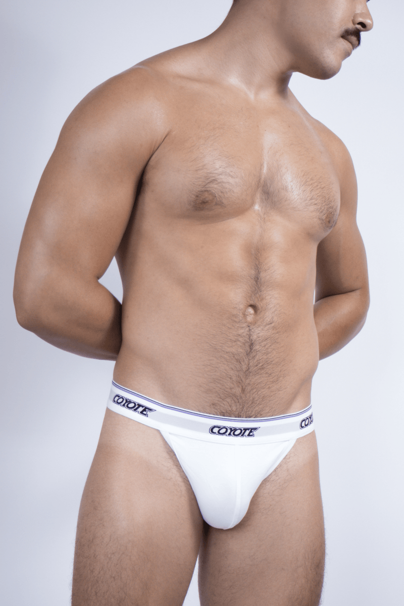 sexy-jockstrap-gay-underwear-mens-jock-Regal White Thong - Coyote Jocks Inc.