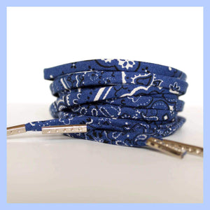 Blue Bandana Shoelaces with Metal Tips