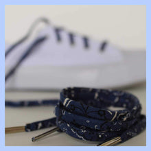 Load image into Gallery viewer, Blue Bandana Shoelaces with Metal Tips