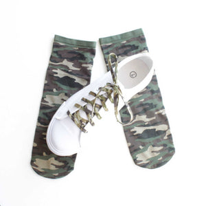 Socks  - Stretch -  Ankle Socks - Camo - Camouflage - One Size Fits Most