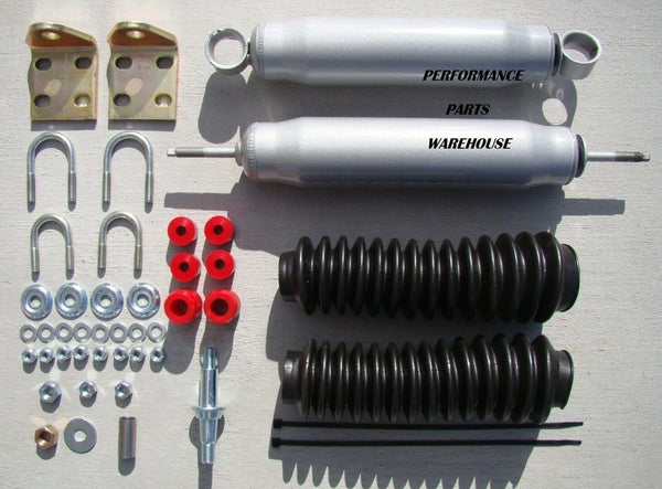 DUAL FRONT STEERING STABILIZER SHOCK KIT 97-06 JEEP WRANGLER - GRAY