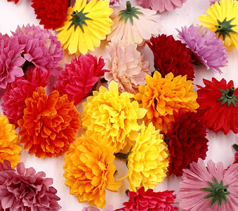 50 X Mixed Coloured Single Silk Carnation Artificial Flower Heads