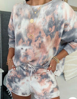 Coral and Grey Tie Dye Loungewear Set