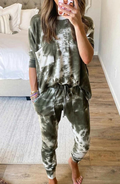 Green Tie dye Loungewear set