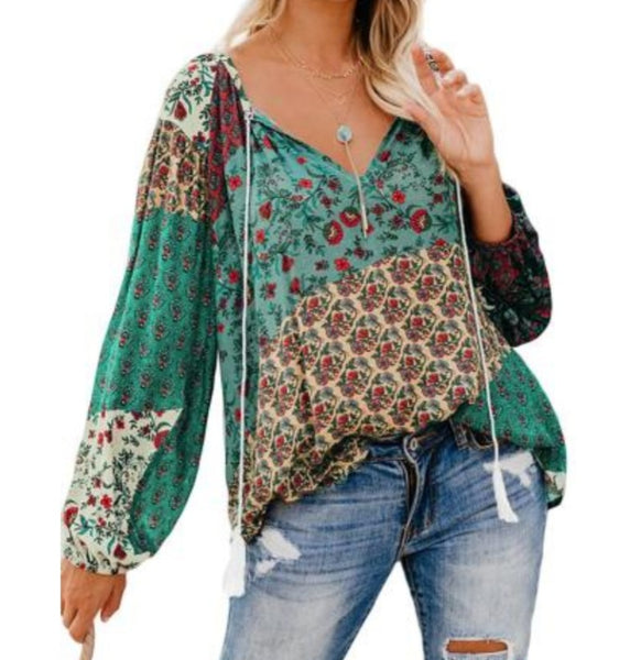 Boho patchwork style top
