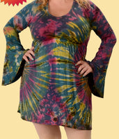 Bell sleeve tie dye cotton dress