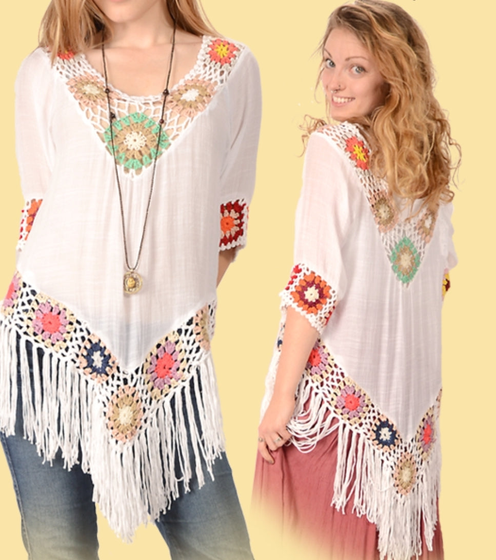 Crochet trim Rayon fringe top