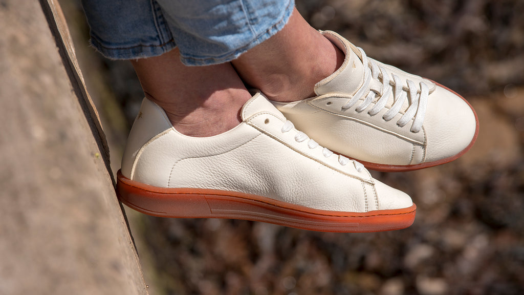White Sciarada Leather with Red Gum Sole