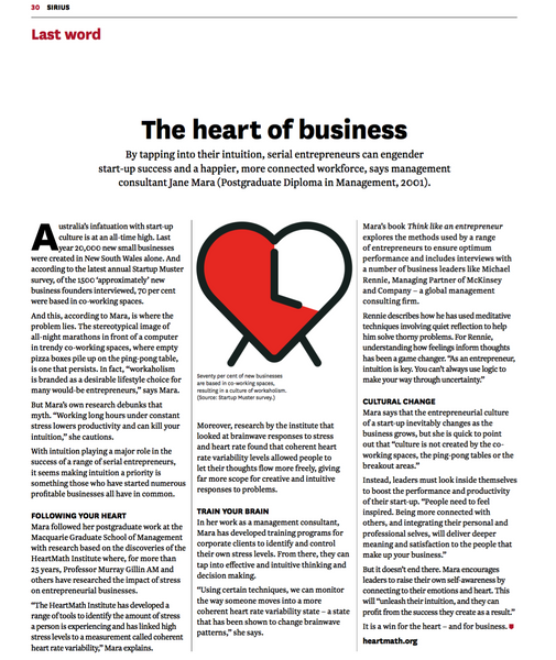 The heart of business - By tapping into their intuition, serial entrepreneurs can engender start-up success and a happier, more connected workforce.