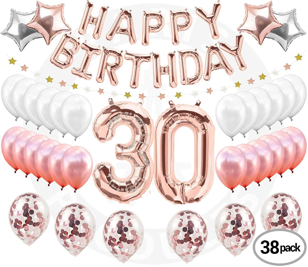 30th Birthday Decorations Rose Gold 38 Piece