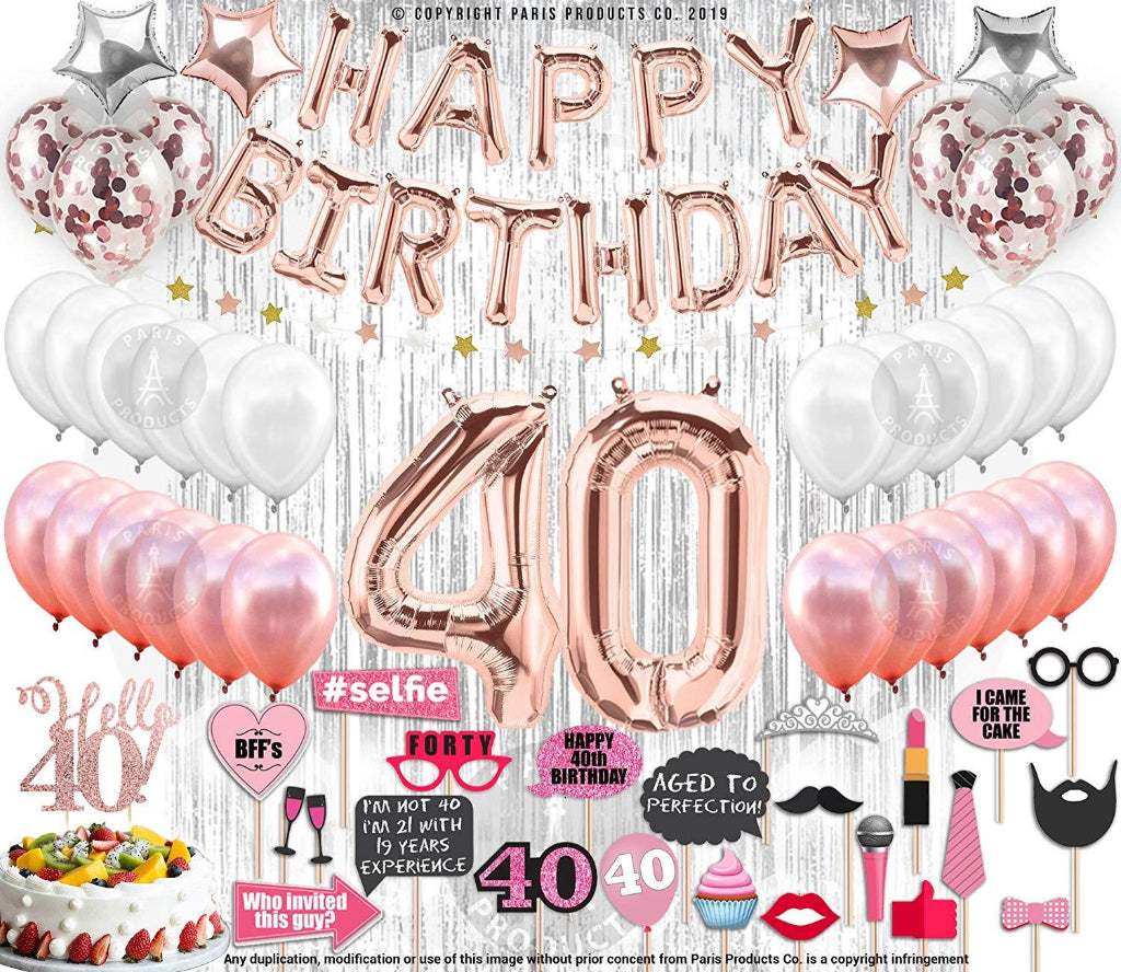 40th Birthday Decoration Kit Rose Gold 40 Piece