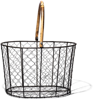 RATTAN HANDLE WIRE BASKET - SMALL DESIGN BY PUEBCO