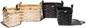 WOODEN BASKET BLACK SQUARE