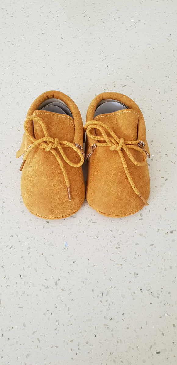 Leather Moccasins - Mustard