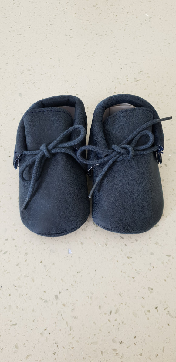 Leather Moccasins - Navy
