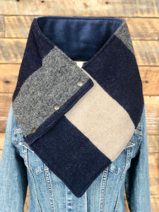 Pendleton® Pioneer blanket with luxe navy fleece WildWool