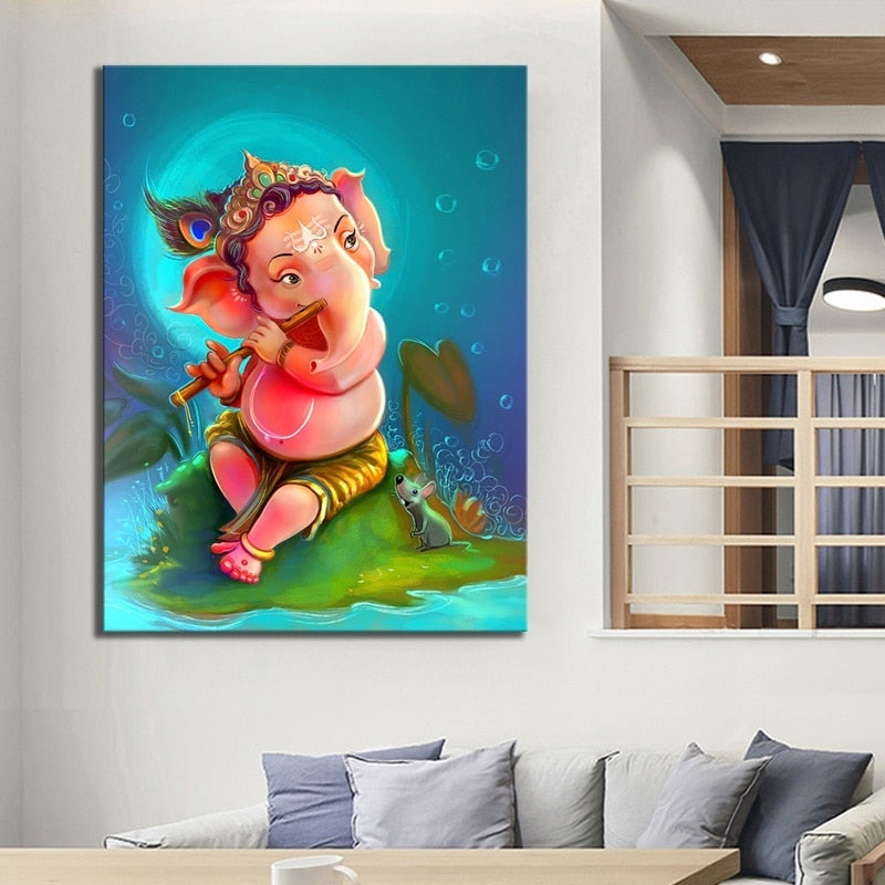 Ganesha Artwork Drawing Painting Hd Picture Print Cartoon Kid On Canvas Wall Art For Home Decor