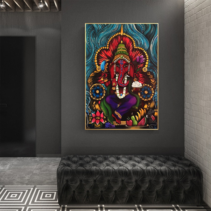 God Ganesha Modern Abstract Canvas Painting Modern Wall Art Picture Canvas Posters And Prints For Home Wall Decoration
