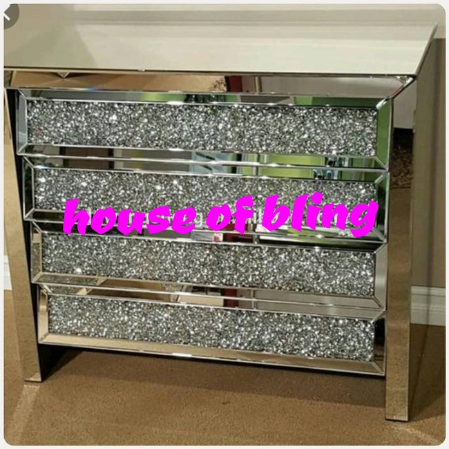 4 drawer crushed diamond chest of drawers
