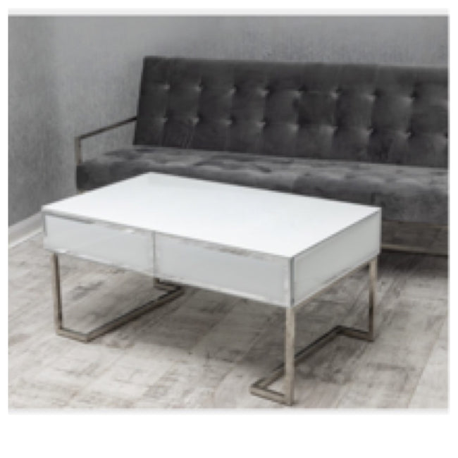 White mirrored coffee table