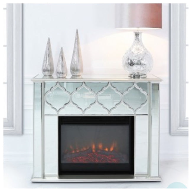 Morocco fireplace available with silver or gold trim
