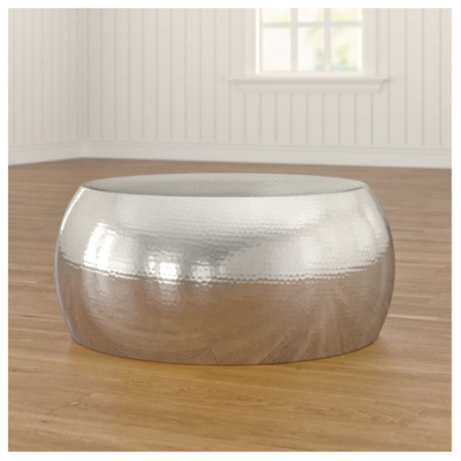Aluminium silver drum coffee table
