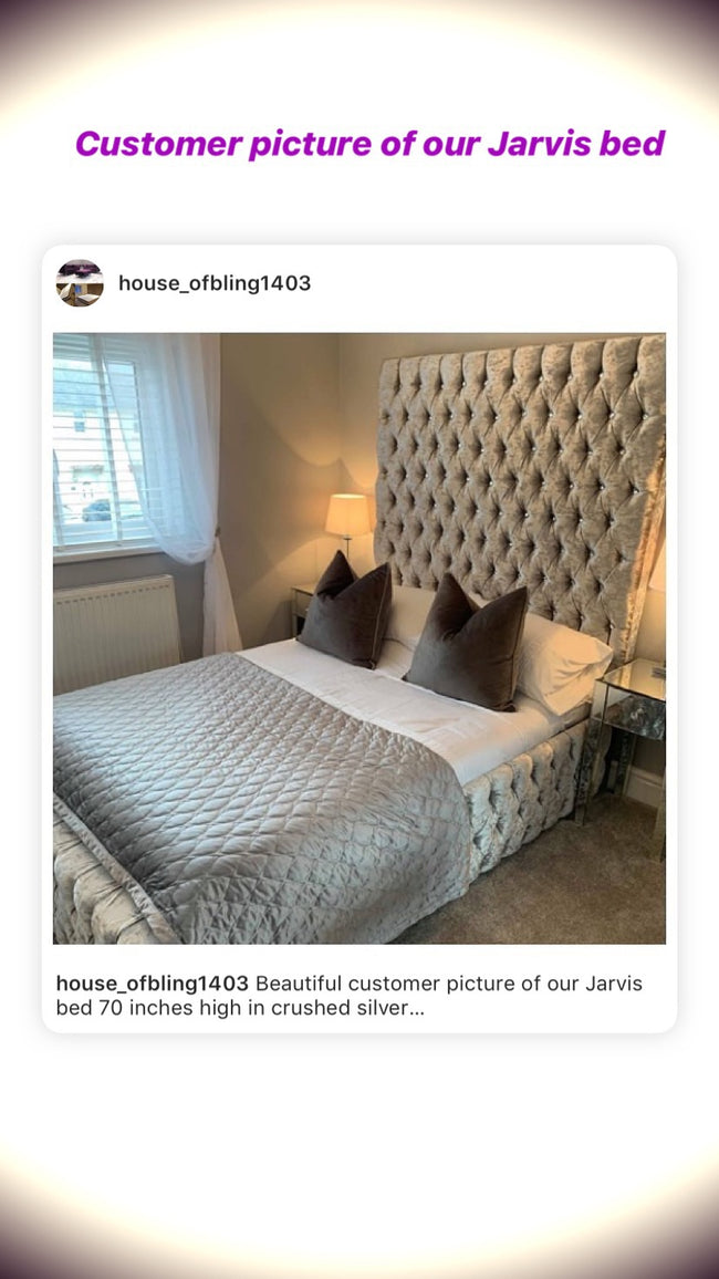 Jarvis High Headboard Bed House Of Bling Furniture Boutique