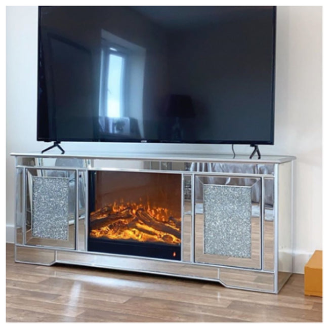 Crushed tv unit with electric fireplace