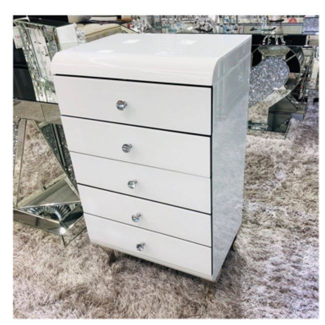 Caprice white curved tall boy drawers