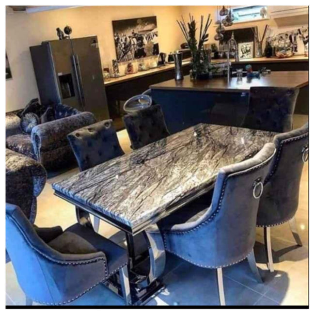 Buxford table dark grey marble top with Lara chairs