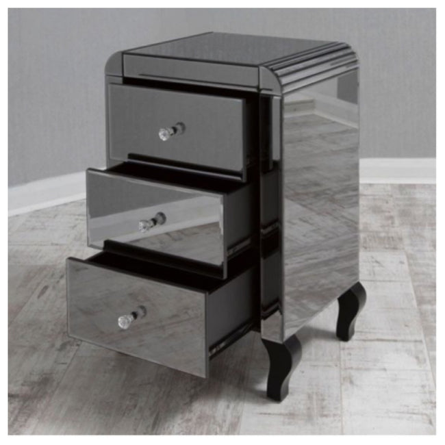 Smoked Mirrored Bedside Tables House Of Bling Furniture Boutique