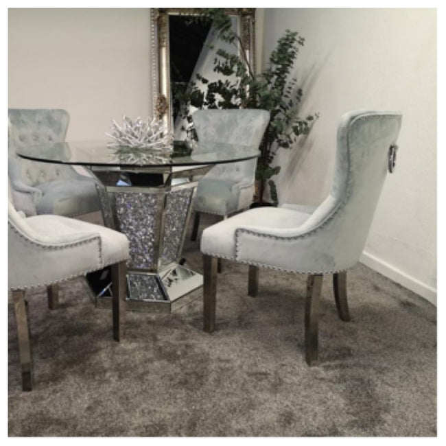 Crushed diamond round table with 4 grey knocker chairs