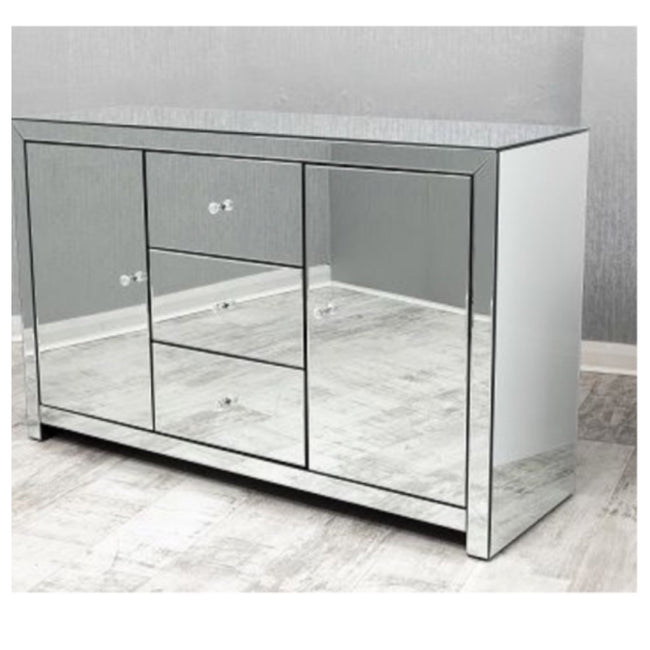 Large plain mirrored sideboard cabinet