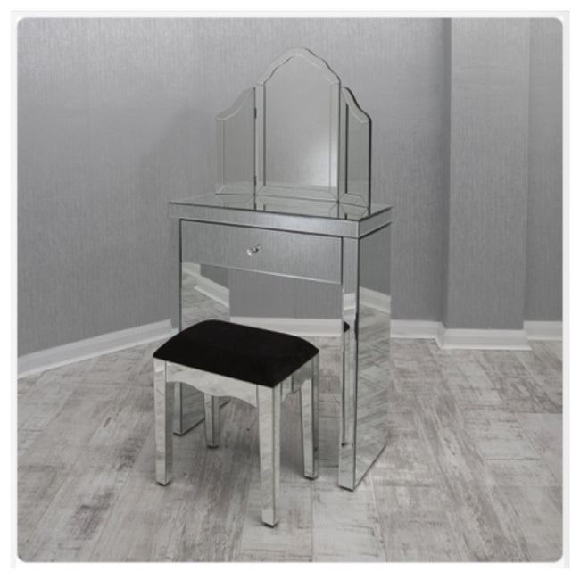 Small clear mirrored dressing table set