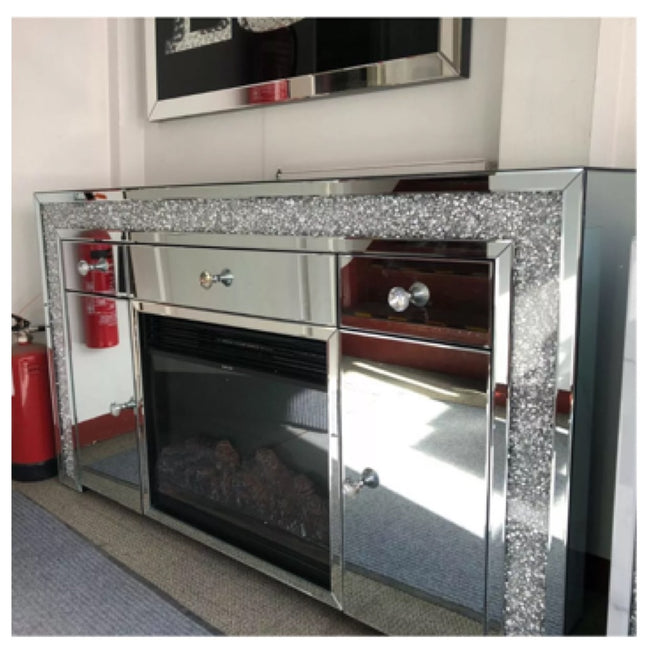 Crushed diamond cabinet with electric fireplace