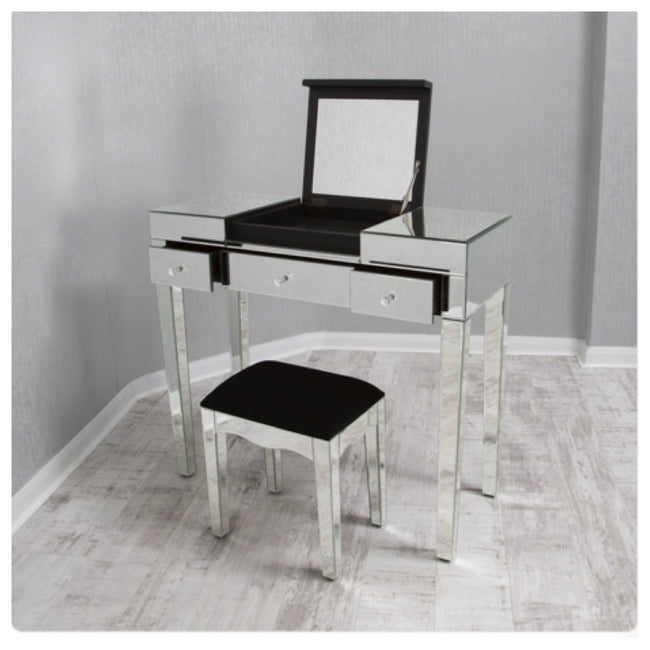 Dressing table set with stool and built in mirror