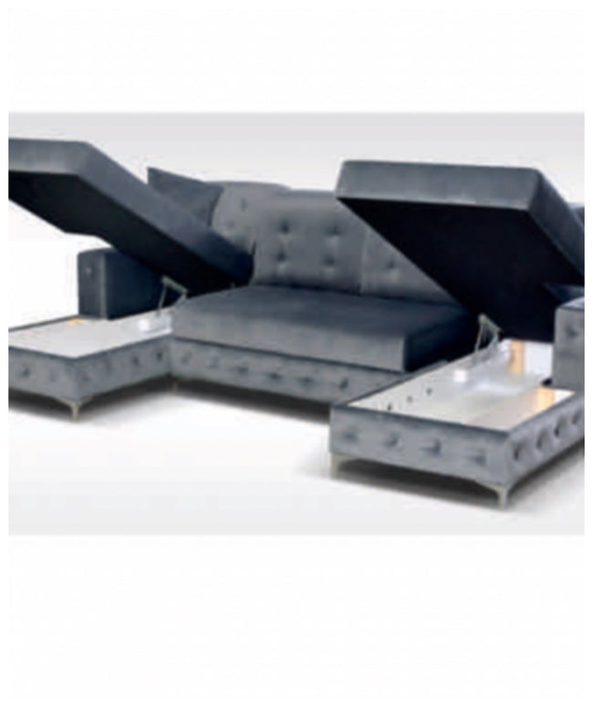 The Henley large U shape sofa bed in velvet