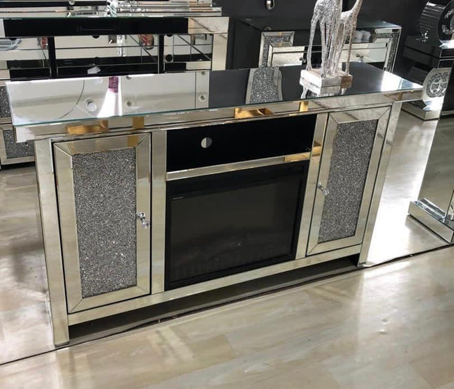 Crushed diamond display cabinet with fireplace