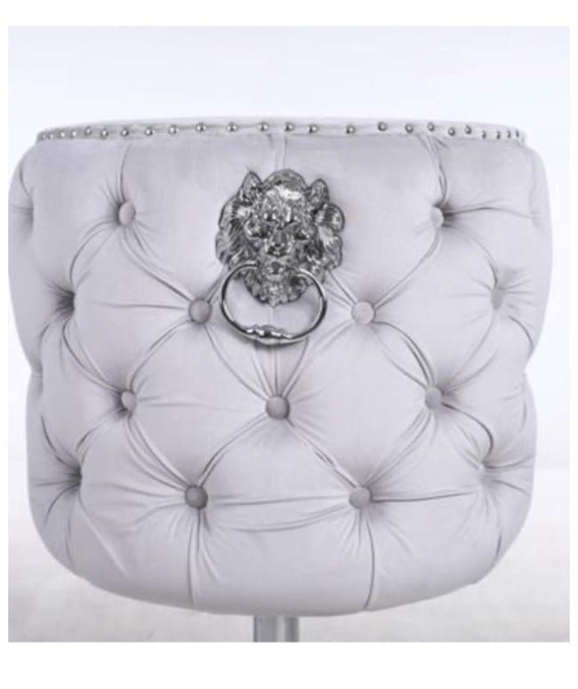 Valentino  lion knock bar stools in dove silver