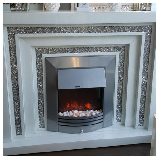 White gloss and crushed diamond fire place