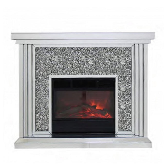 Tiered crushed diamond fireplace