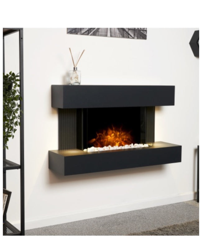 Manchester wall mounted electric fireplace black