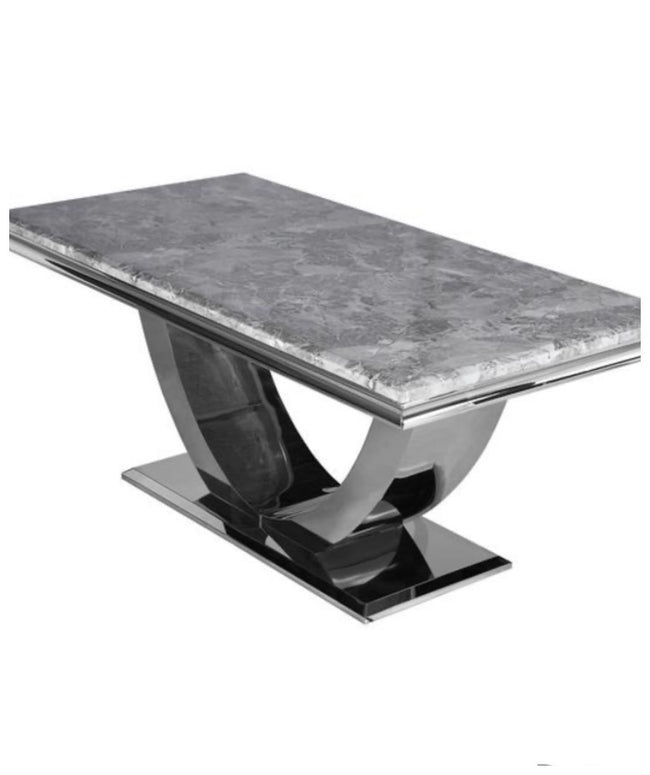 Madrid light grey marble table with knocker chairs