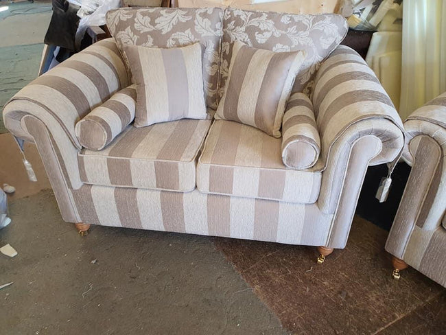 Royal Windsor sofa in floral and strip cream and beige
