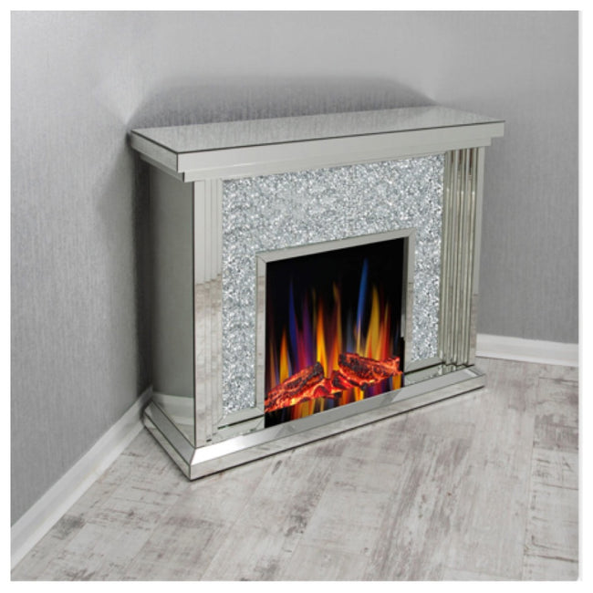 Crushed diamond fireplace