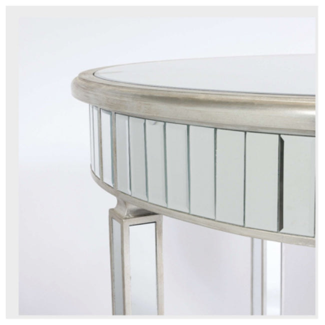 Valencia dining table silver mirrored trim