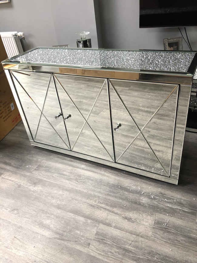 Elegance crushed diamond sideboard 3 drawer cabinet