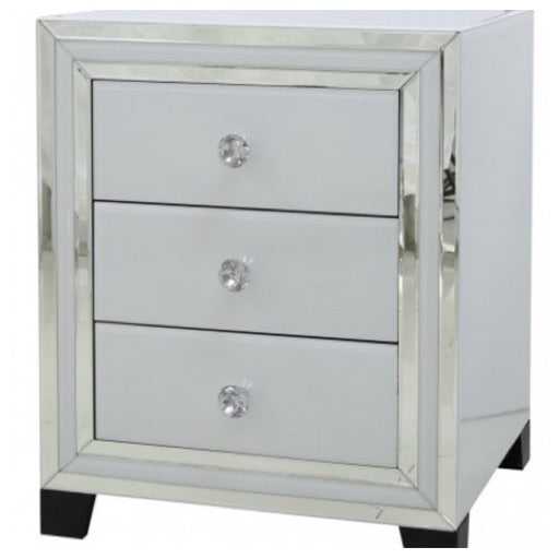 White Atlanta 3 drawer bedside tables